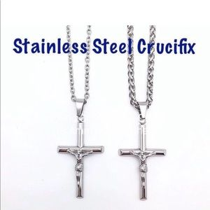 Crucifix Cross in Stainless Steel on Wheat Chain